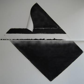 Paper, Spraypaint, Shelf covered with charcoal
